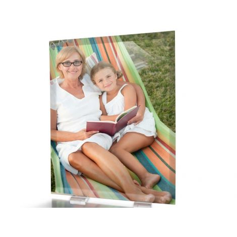 Your image fused into a glass print with flat beveled edges and a stylish metal pin for tabletop display.