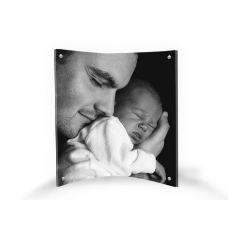 "LightPix Everlasting Photo with Matching 6"" x 8"" Curved Acrylic Magnetic Frame – Unique Photo Print That Lasts a Lifetime with a Free-standing, Light-Catching Frame."