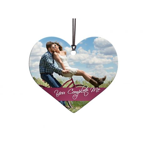 Show off the love in your life with a customized You Complete Me heart-shaped hanging acrylic decoration.