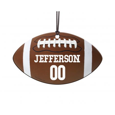 Touchdown! Show off the football player in your life with this personalized football hanging acrylic print. This football would look great wherever you hang it!