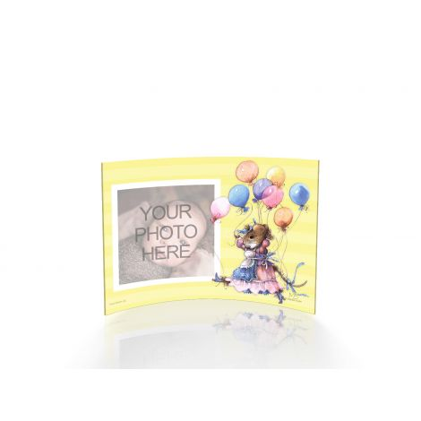 Marjolein Bastin curved acrylic frame featuring Vera the Mouse with balloons. Upload your own photo to personalize.