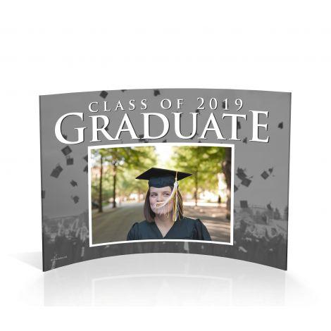 Graduate curved acrylic frame featuring your graduate's photo.