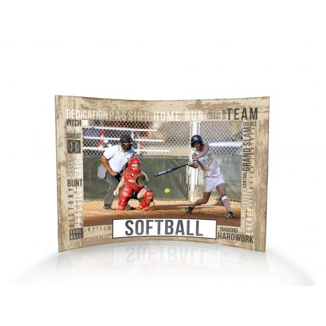 Softball curved acrylic print featuring softball words. Personalize with your photo!