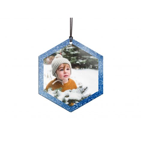 My First Winter hexagon-shaped hanging metal ornament. Personalize with your own photo!