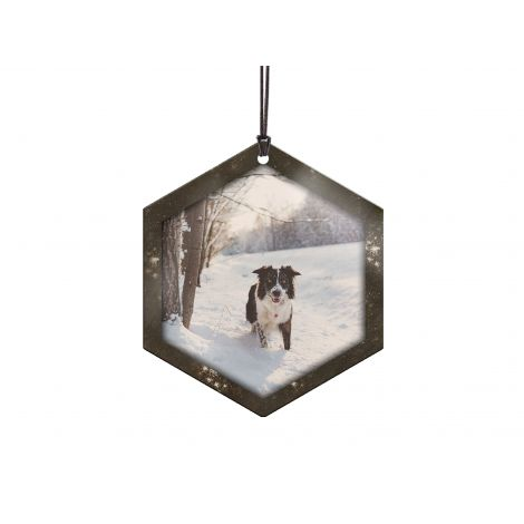 It's Warm Inside hexagon-shaped hanging metal ornament. Personalize with your photo!