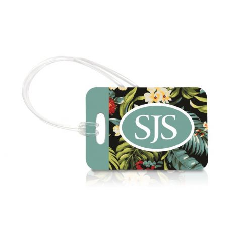 Even if you're not traveling to The Aloha State, you can pack your bags with Big Island style. This personalized, extra durable tag features fun, floral, Hawaiian foliage as the backdrop to your own monogram.