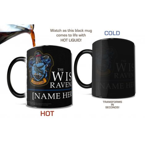 Pledge your allegiance to Ravenclaw™ with this personalized Morphing Mugs® heat-sensitive, color changing mug featuring an image of the robe worn by the students of Hogwarts
