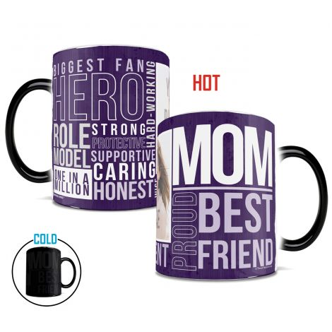 Mother's Day personalized Morphing Mugs heat-sensitive drinkware featuring mom words. Customize with your mother's photo.