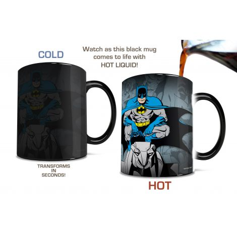 Are you vengeance? Are you the night? Are you also in need of some caffeine? Pour hot liquid into this officially licensed DC Comics mug and the Caped Crusader appears in classic bright blue, gray, and yellow, crouching and glaring at whomever sits across