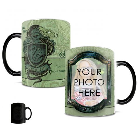 Harry Potter Slytherin House Morphing Mugs heat-sensitive drinkware. Personalize with the wizard in your life by uploading a photo!