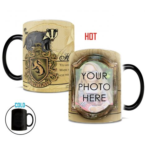 Upload your favorite witch, wizard, or muggle to this officially licensed Harry Potter Hufflepuff House Morphing Mugs® Heat-Sensitive Mug!