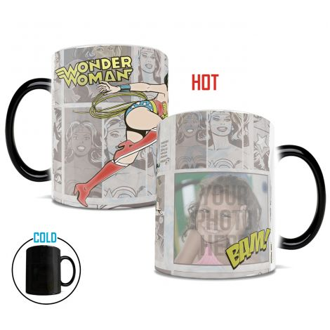 Wonder Woman Morphing Mugs heat-sensitive drinkware. Upload the heroine in your life next to Wonder Woman today!
