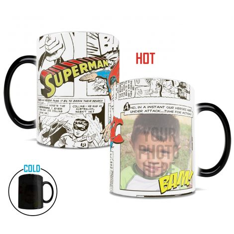 DC Comic's Superman Morphing Mugs heat-sensitive drinkware. Upload your favorite hero next to Superman!