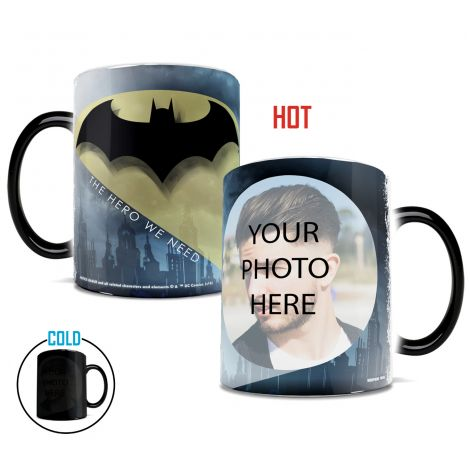 Become The Hero We Need with this Morphing Mugs heat-sensitive drinkware. Upload your photo next to the Bat Symbol.