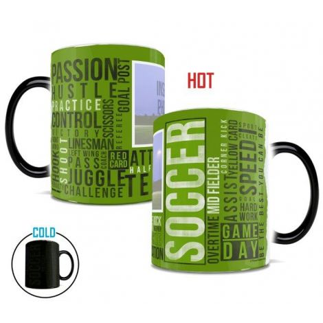 Soccer Words Morphing Mugs heat-sensitive drinkware. Personalize with a photo of your favorite soccer player.