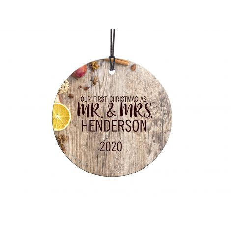 It's your first Christmas together. Show off your love and commitment with this rustic bounty design. Personalize with your name and year to remember the occasion forever.