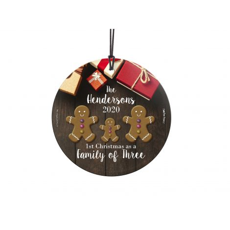 Your family of two has become three this year. Celebrate your first Christmas as a family of three with this personalized hanging glass decoration. Add your name and year to remember the occasion forever.