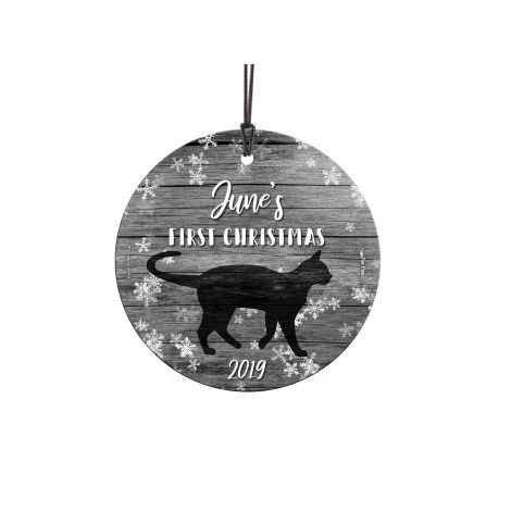 You have a new four-legged friend in your life this year. Show off your first Christmas with your cat with a personalized hanging glass ornament. Customize with their name and year to remember the first time you had them forever. Comes with hanging string