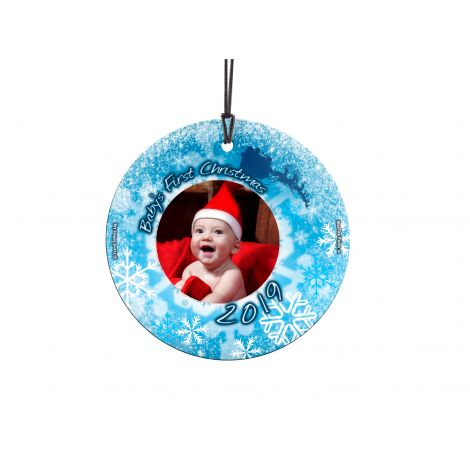 Remember baby's first Christmas with the Little Snowflake Baby StarFire Prints Hanging Glass decoration. Personalize with a photo of your little one.