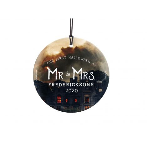 Celebrate your first Halloween as Mr. & Mrs. with our original design fused permanently into a StarFire Prints™ Hanging Glass. Comes with hanging string for easy display.
