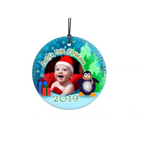 Baby's First Christmas StarFire Prints Hanging Glass decoration. Personalize with your baby's name and year of birth.