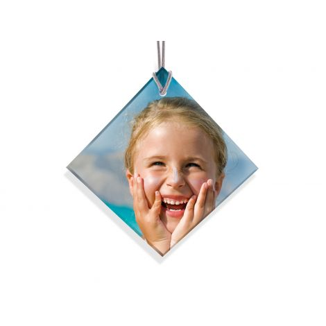 "Your favorite image fused into light-catching glass. The 3.5"" diamond/square shape ornament is illuminated in natural light."