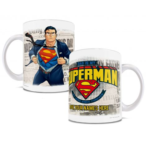 Let Dad know how you see him with this officially licensed DC Comics mug with Superman. Add your name(s) for a personalized touch!