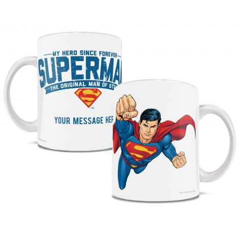 Personalize and gift this officially licensed mug to your very first hero. Whether that be Dad, Mom, Grandpa, friend, teacher, etc., you can customize this mug featuring Superman with your own message.