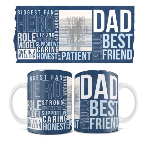 Father's Day White Ceramic Mug featuring a photo of your father. Personalize this mug showing Dad Words today!