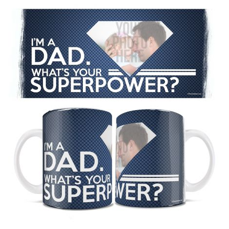 Show off your dad's superpower of being a dad with this White Ceramic Mug. Personalize with a photo of your dad today.