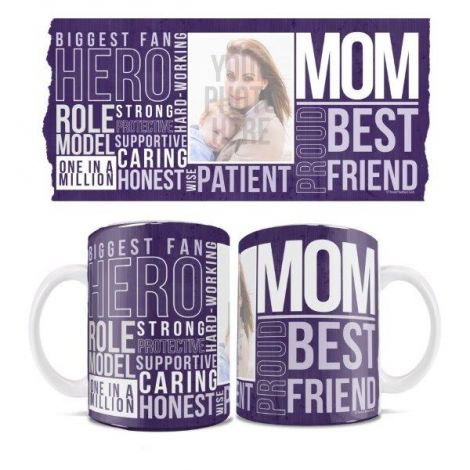 Mother's Day White Ceramic Mug. Show off the mom in your life with mom words around her by personalizing with her photo.
