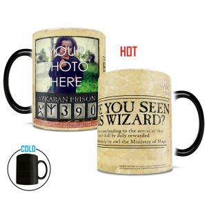 Harry Potter Wanted Wizard Morphing Mugs heat-sensitive drinkware. Make your wizard one of the most wanted by personalizing with your photo!