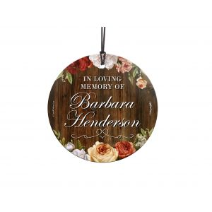 Losing a loved one is never easy. Now, you can remember them forever with this personalized hanging glass ornament. Add their name and to make a keepsake that will last forever, complete with a wood background. Comes with hanging string for easy display.